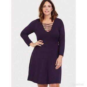 cff8d48413e torrid Dresses - Torrid Purple Lattice Skater Sweater Dress